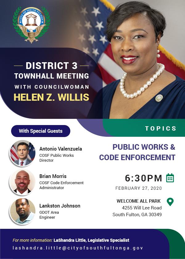 Helen Willis District 3 Town Hall